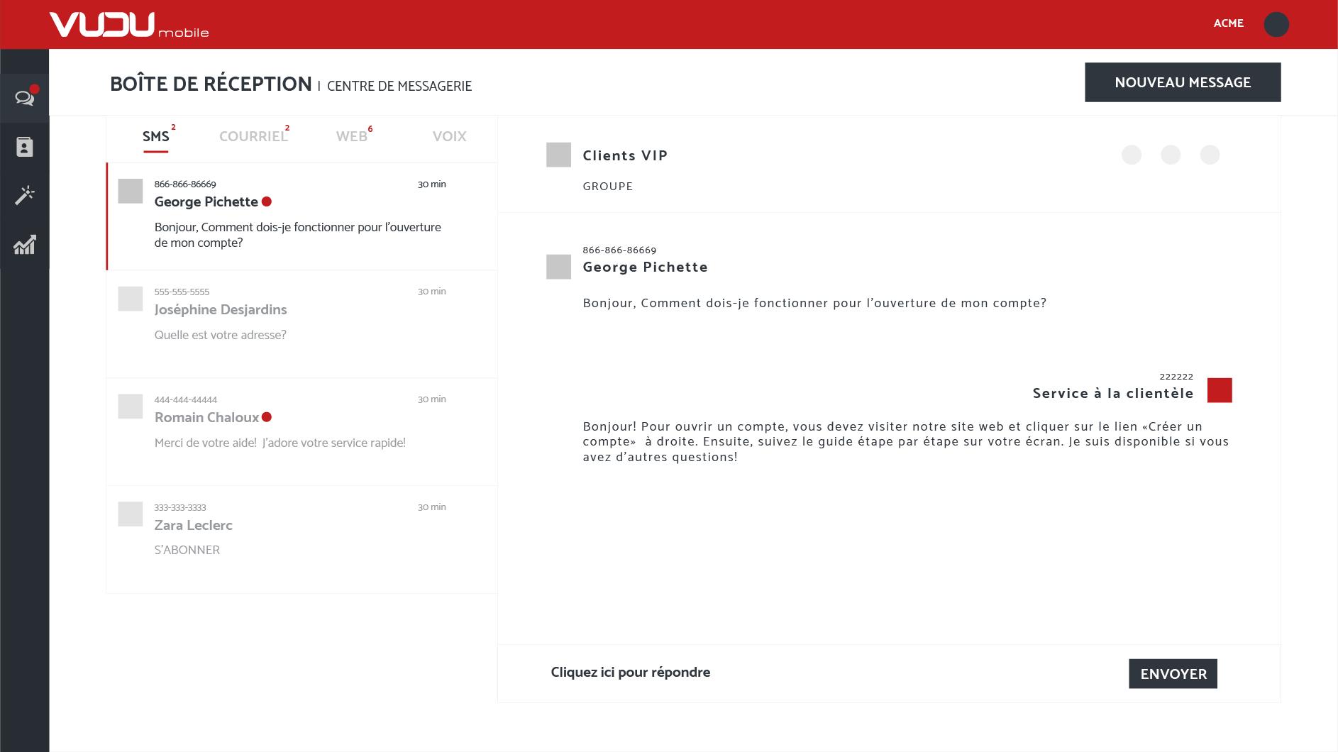 messagerie multicanaux pour entreprises sms courriel clavardage. Black Bedroom Furniture Sets. Home Design Ideas
